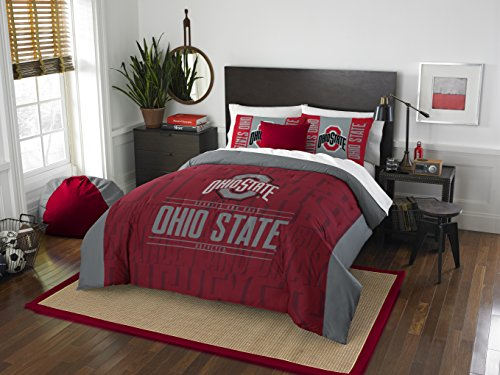 NCAA Ohio State Buckeyes Modern Take Two Sham Set, Scarlet, Full/Queen Size