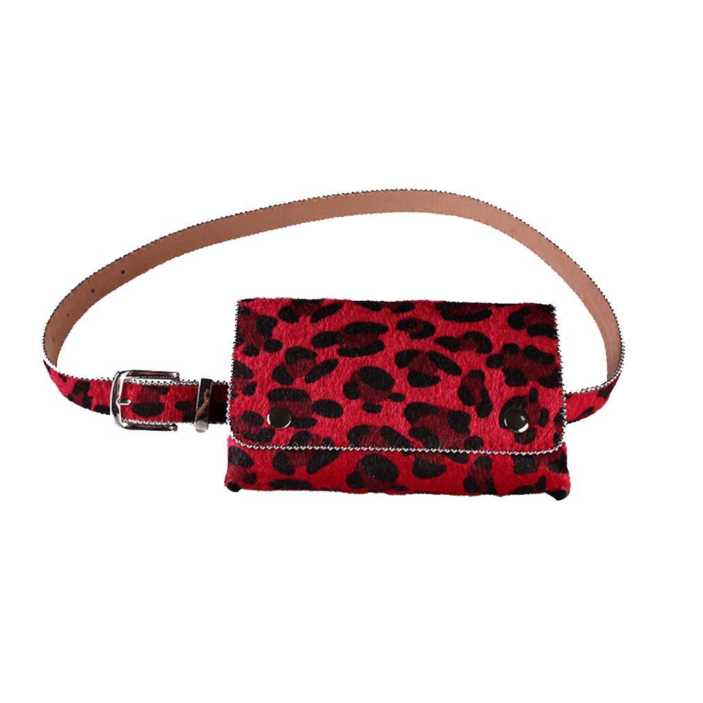 04c9205ee6 Fangcheng Marsupio con stampa leopardata Borsa multifunzione da donna con cintura  per jeans da cintura per