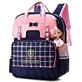 Water Resistant PU Backpacks for Girls Large Kids Bookbags Reflective School Daypack (Navy Blue, S)
