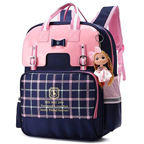 British Style Girls Backpacks for School Princess Bowknot Kids Bookbags (Small, -