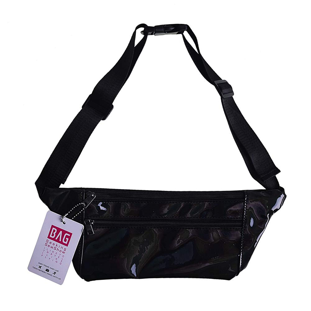 Holographic Shiny Fanny Pack Waist Bag 80s Travel Purse for Women Rave, Festival