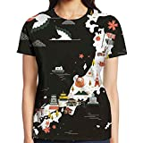 XIA WUEY Japan Map Womens Sport Graphic Tee Compression Tees