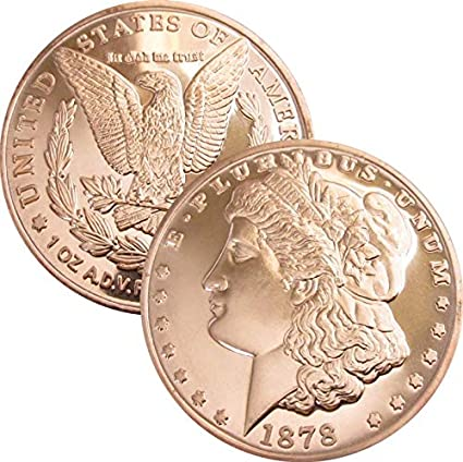 1 Ounce .999 Copper Round 1804 Liberty Dollar 5 Coins
