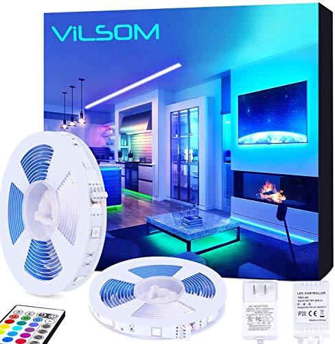 ViLSOM LED Strip Lights 32.8FT 10M RGB Color Changing SMD5050 with Remote and 12V Power Supply, for Bed Room, Kitchen, Desk, Party DIY Decoration