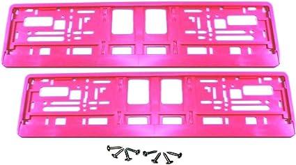 2 Stück Kennzeichenhalter Pink Inklusive 8 Schrauben Premiumqualität Satz Garten