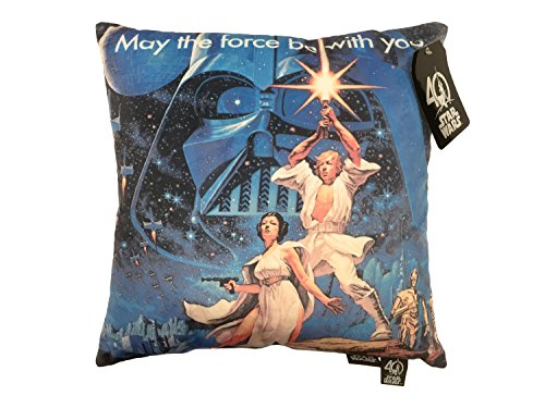 Star Wars May the Force Be with You Decorative Toss Throw Pillow, Blue/Black by Star Wars