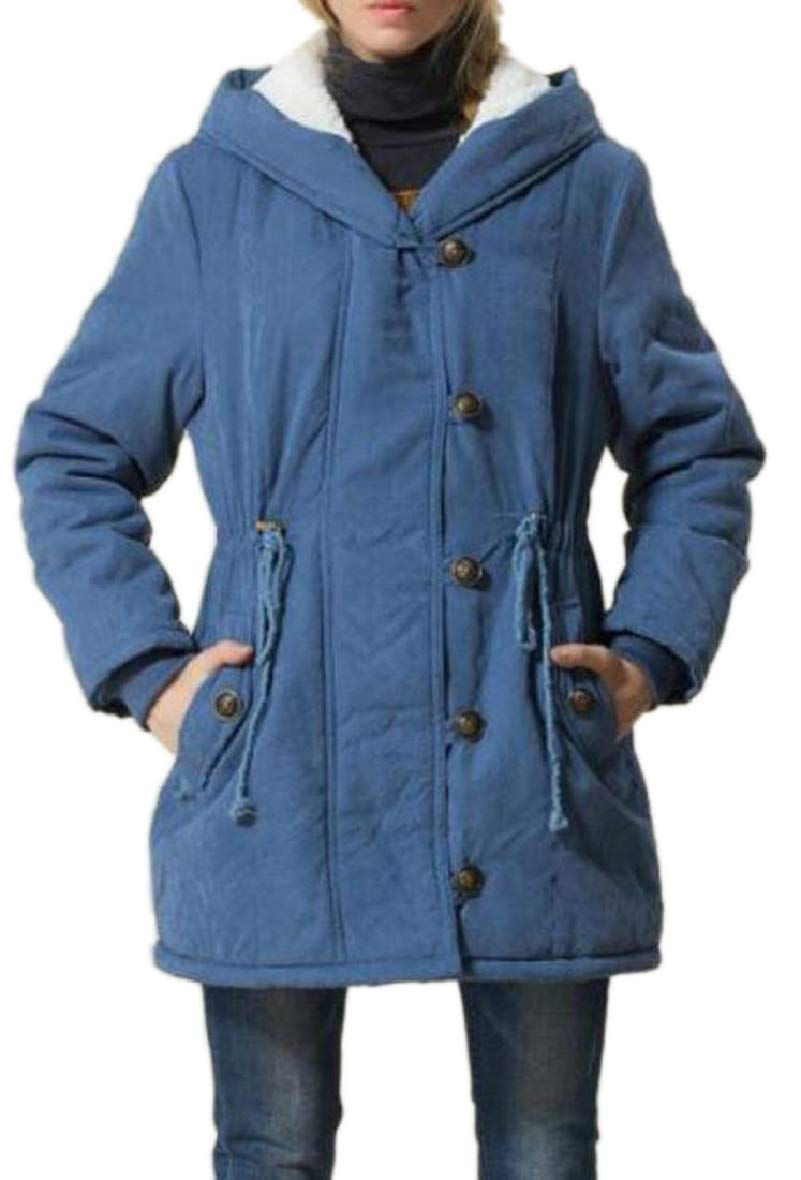 blueee US Small Sodossny-AU Women Winter Wool Lined Hooded Military Parkas Jackets Coat