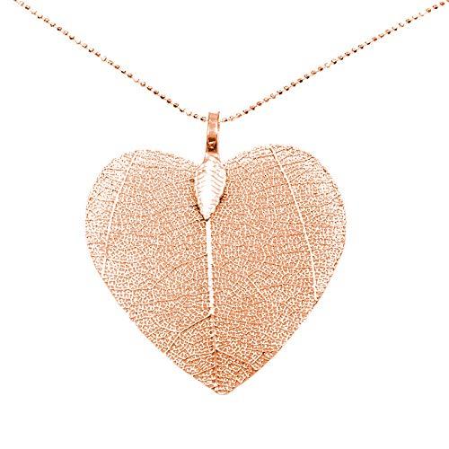 d46da38a57f8 Collar corazón de hoja natural con cadena de Plata de Ley 925 ...