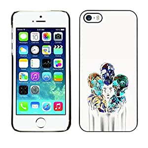 Colorful Printed Hard Protective Back Case Cover Shell Skin for Apple iPhone 5 / iPhone 5S ( Girl Poster Skull Blue White Death )