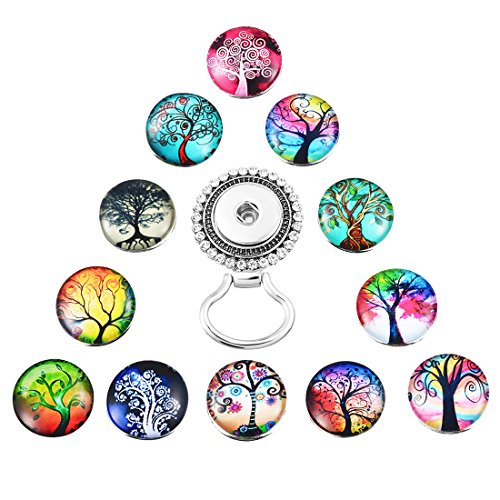 MJartoria Interchangeable Tree of Life Snap Buttons Centerpiece Eye Glass Holding Magnetic Brooch Pins(Colorful)
