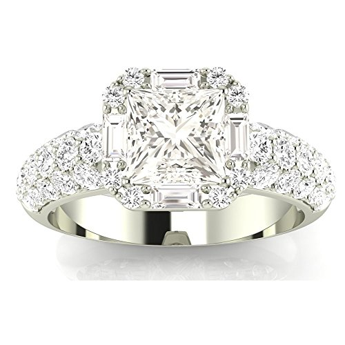 1.3 Cttw 14K White Gold Princess Cut Designer Popular Halo Style Baguette And Pave Set Round Diamond Engagement Ring with a 0.5 Carat F-G Color VS1-VS2 Clarity Center 0.5 Ct Princess Baguette