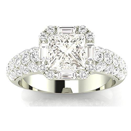 Chandni Jewels 1.8 Cttw Platinum Princess Cut Designer Po...