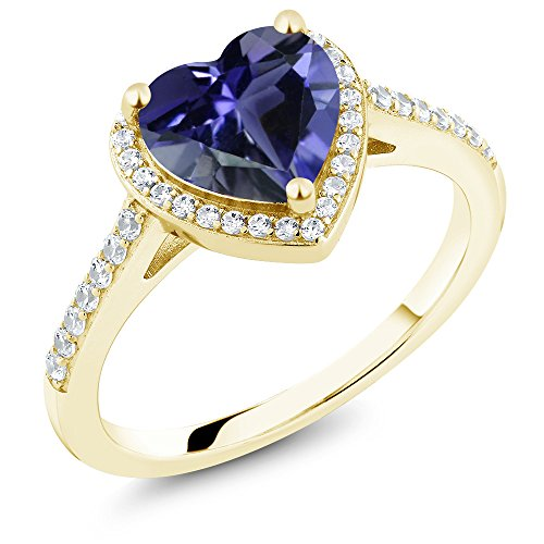 Gem Stone King 1.46 Ct Heart Shape Blue Iolite 18K Yellow Gold Plated Silver Engagement Ring (Size 8)