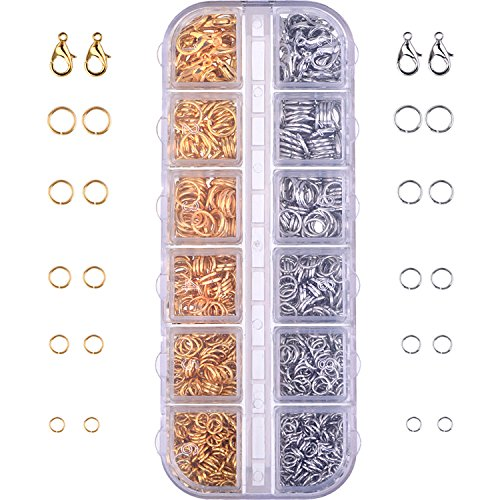 Outus 1104 Pieces Jewelry Findings Kit Lobsters Clasps and Jump Rings for Jewelry Making (Multicolor - Clasp Jewel