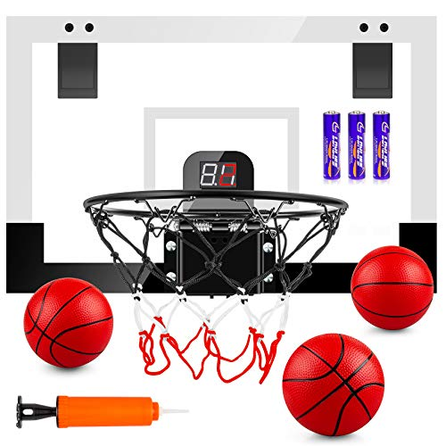 "TREYWELL Indoor Mini Basketball Hoop for Kids and Adults, 17""X13"" Basketball Set for Door Wall Room with 3 Balls & Electronic Scoreboard - Basketball Toy Gifts for Boys Girls Teens"