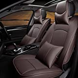Car Seat Cover Cushions PU Leather AUTOPDR Front Rear Full Set Car Seat Covers for 5 Seats 2010-2015 Ford F150 (Coffee)