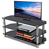 Topeakmart Glass TV Stand Chrome Legs Storage Shelves for Flat Screens, 3 Tier, Black