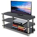 Topeakmart Glass TV Stand Chrome Legs Storage Shelves for Flat Screens, 3 Tier, Black