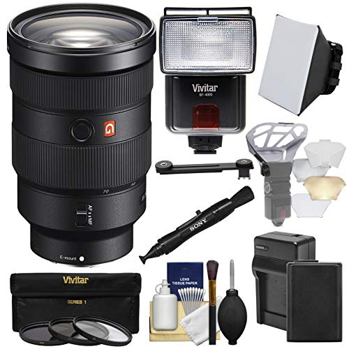 (Sony Alpha E-Mount FE 24-70mm f/2.8 GM Zoom Lens with Battery & Charger + 3 UV/CPL/ND8 Filters + Flash + Soft Box + Kit)