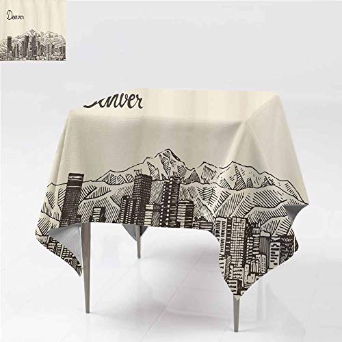 City Hall Denver Halloween (carmaxshome Tablecloth, Denver City Skyline Sketch Coffee Hall Home Decorative Cover Heavy Duty Waterproof Spillproof Tablecloth for Indoor Outdoor Use, 50 x 50)
