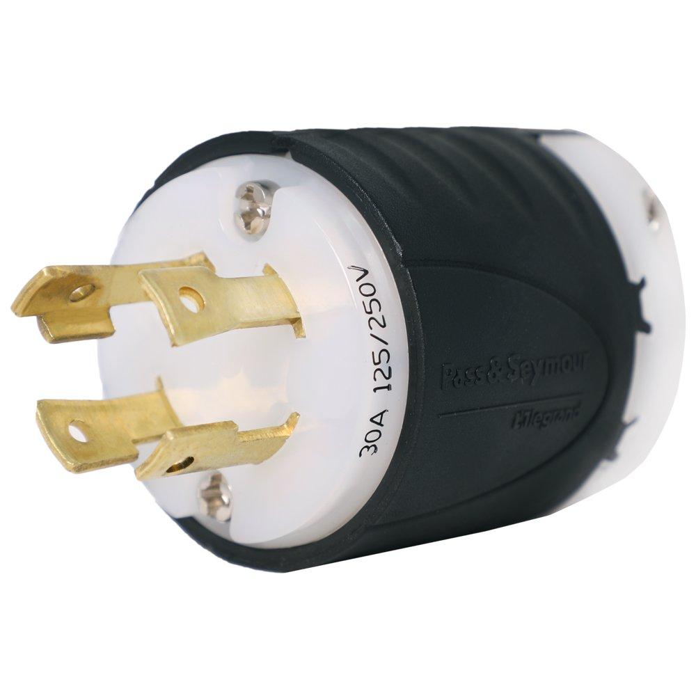 Iron Box NEMA L14-30P Generator Plug - Rated 30A 125/250V, 4 Prong for L14-30R Generator Receptacles IBX-L1430P