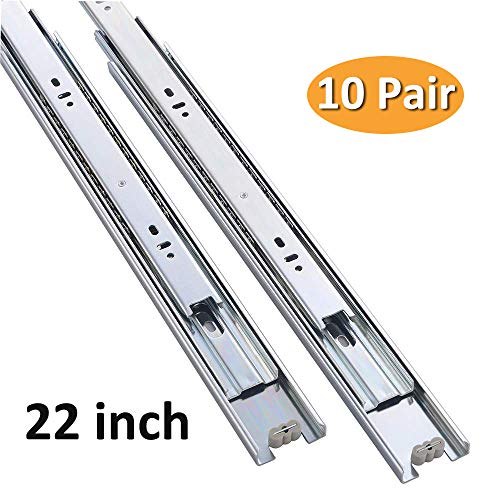 Cuaulans 10 Pair 22 inch Full Extension Side Mount Ball Bearing Sliding Drawer Slides, Mounting Screws Included, Available in 10 inch, 12 inch, 14 inch, 16 inch, 18 inch, 20inch and 22inch Lengths