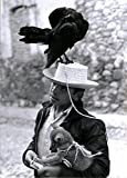 B&W Boy with fox and crow in San Miguel Mexico