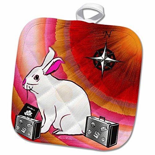3dRose SmudgeArt Animal Designs - Travel Bunny - 8x8 Potholder (phl_7150_1)