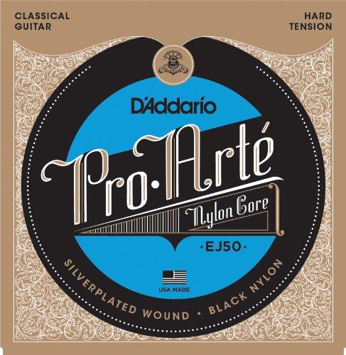 (D'Addario EJ50 Pro-Arte Black Nylon Classical Guitar Strings, Hard Tension)