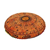 Large 32'' Zodiac Horoscope Pillow Cover, Decorative Mandala Pillow Sham, Indian Bohemian Ottoman Poufs, Multi Pom Pom Pillow Cases, Outdoor Cushion Cover,