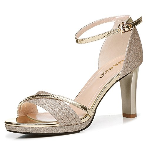 And Stylish In Fine Gold With Sandals High 8Cm Shoes Fish Women The Heeled Summer The HGTYU Slotted Summer Sandals 4BWwFqRp