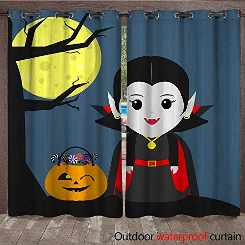 RenteriaDecor Outdoor Balcony Privacy Curtain Happy Halloween A Vampire Girl in The Style of a Cartoon Stands Next to a Tree Halloween Pumpkin with Sweets Full Moon a W84 x L108]()