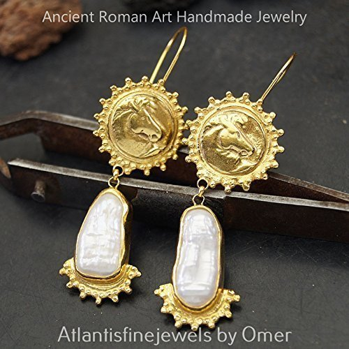 Ancient Work Pearl & Horse Coin Earrings Sterling Silver Sun Collection 24k Gold Plated Turkish Jewelry Ancient Coin Earrings