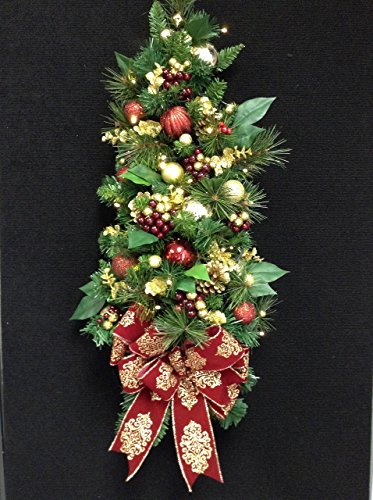 "WALL TREE for Holidays. Pre-Lit, Pre-Decorated LED light with timer option. Artificial 32"" FREE (Pre Lit Cone)"