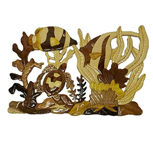 Coastal Wood Factory Handmade Art Intarsia Wooden Wall Plaque – Coral Reef(1607) For Sale