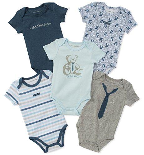 (Calvin Klein Baby Boys 5 Pack Bodysuits, Blue/Gray, 12M)