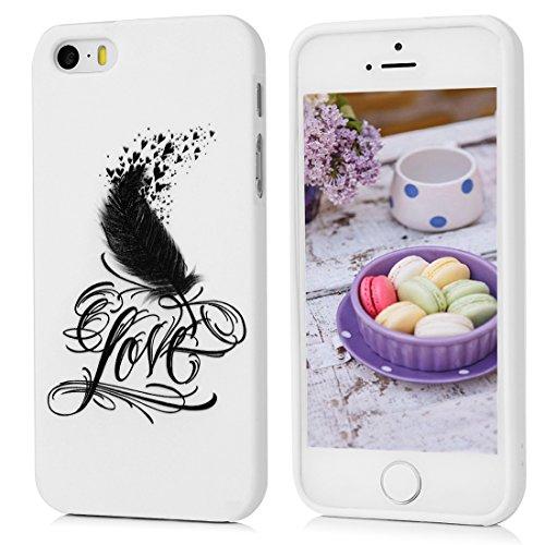 iPhone 5/5S TPU Silikon Case,Kasos iPhone 5/5S Hülle mit Feder Design Handy Cover Schutzhülle in Weiß mit Stylus Pen und Staubstecker