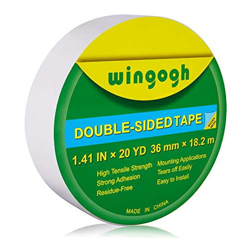 Double Stick Mounting Tape - Wingogh Double Sided Tape - Multi-Purpose Double Sided Duct Tape Perfect for Carpet Rug Indoor and Outdoor Removable Heavy Duty Mounting Tape, 1.41-Inch by 20-Yards