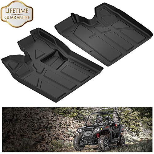 KIWI MASTER Floor Mats Compatible for 2011-2014 Polaris RZR 570 800 900 with Heel Pocket Front Row TPE Floor Liners All Weather Protection Slush Mat Black