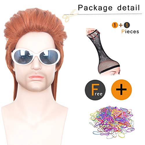 SiYi Short Curly Dark Orange 70s 80s Wig for Men Rockabilly Disco Fancy Party Costume Cosplay Wigs 14.96 inch -