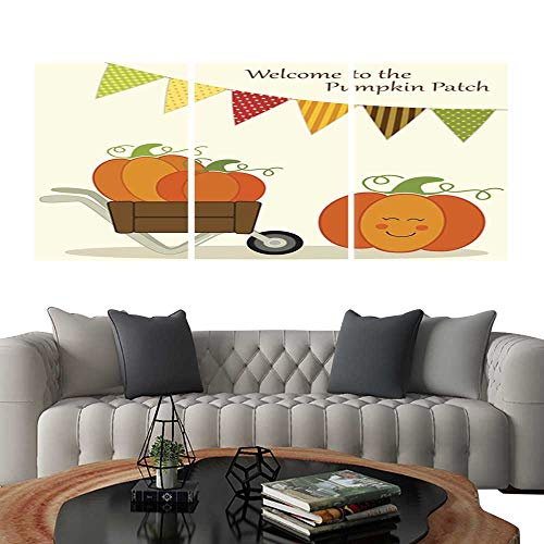 UHOO Canvas Print Wall Art Cute Pumpkin Patch Card with Bright Bunting Flags in Traditional Autumn Colors and Different Pumpkins in Wheelbarrow. Art Stickers ()
