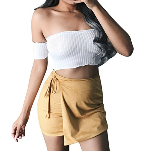 Price comparison product image Mose Women's Short Tops,  Women Slim Short Sleeve Pit Coat Fashion Natrual New Sexy Word Collar Belly Slim Wrap The Chest Off Shoulder Striped Blouse T Shirt Vest Tops (White,  XL)