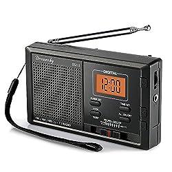 DreamSky Portable AM FM NOAA Weather Radio Alarm Clock, 12 /24H Time Display Backlight, Sleep Timer, Ascending Alarms, Built in Loud Speaker, Battery Operated Pocket Radios Emergency