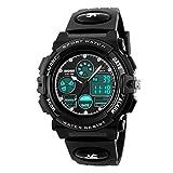 Kids Digital Watch LED Outdoor Sports 50M Waterproof Watches Boys Girls Children's Analog Quartz Wristwatch with Alarm Wrist Watch - Black