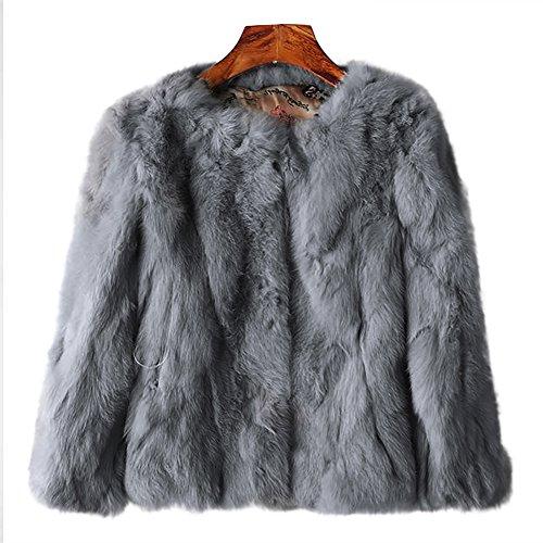MINGCHUAN Genuine Rabbit Fur Coat Women's Fluffy Fur Warm Jacket Waistcoat Outwear (3/4 Coat Fur Rabbit Genuine)