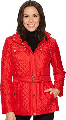 MICHAEL Michael Kors Womens Snap Front Belted Quilt M422715B74 Red XL One - Size Michael Women Kors Chart