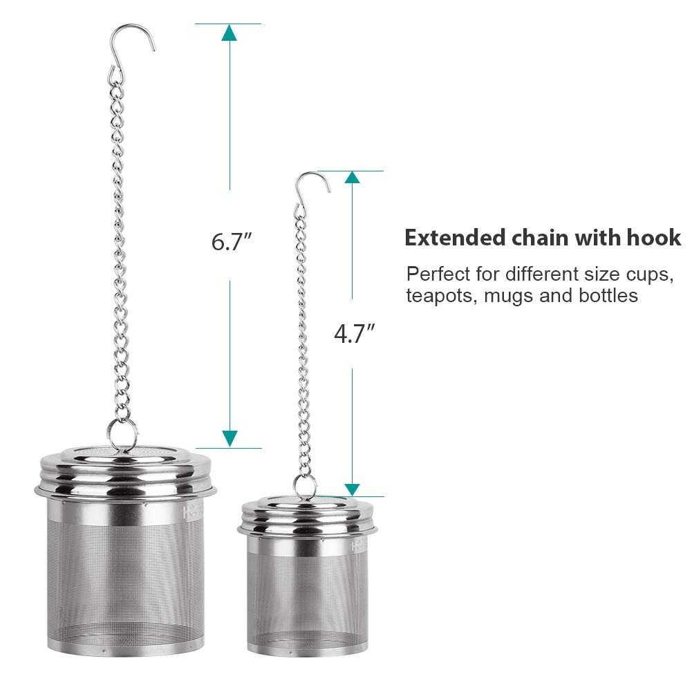 Extra Fine Mesh Tea Infuser Set Threaded Connection 18//8 Stainless Steel with Extended Chain Hook to Brew Loose Leaf Tea House Again Tea Ball Infuser /& Cooking Infuser, 2+1 Pack Spices /& Seasonings