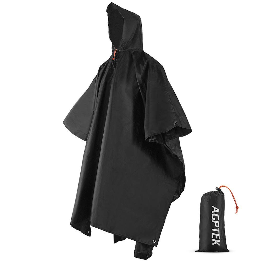 AGPTEK Waterproof Raincoat, Rain Poncho with Hoods, 3 in 1 Multifunctional Reusable Rainwear with a Carry Bag for Hiking Camping Outdoor Activities,Black