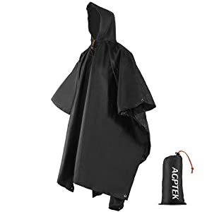 AGPTEK レインコート レインポンチョ 多機能 雨具 帽子 防水 防汚 男女兼用 収納袋付き マジックテープ付き (ブラック)