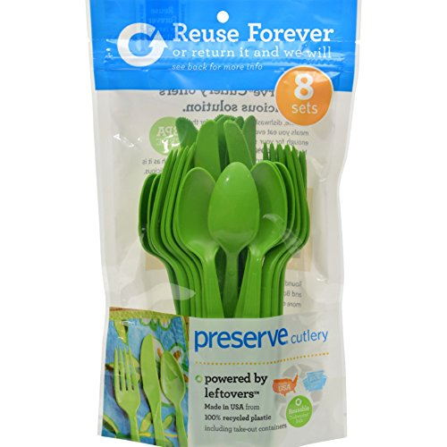 (Preserve Heavy Duty Cutlery - Apple Green - 8 Sets 24 Pieces Total (Pack of 2) )